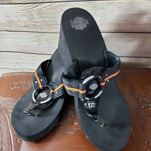 HARLEY-DAVIDSON Black Wedge Sandals